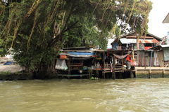 Floating house on Chaophraya, river, Bangkok. Thailand Royalty Free Stock Images