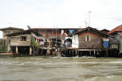 Floating house on Chaophraya, river, Bangkok. Thailand Royalty Free Stock Images