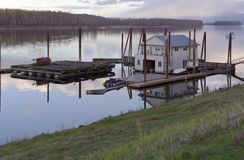 Floating house on the Columbia river. Stock Image