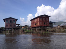 Floating house in Inle Lake, Myanmar Royalty Free Stock Photography