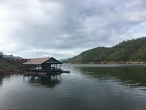Floating House. At Kanchanaburi Thailand royalty free stock photo