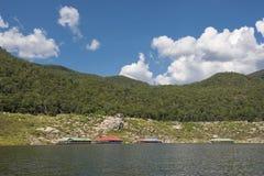 Floating house in the lake Bhumibol Dam Tak ,Thailand. Stock Photography