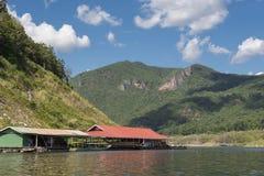 Floating house in the lake Bhumibol Dam Tak ,Thailand. Royalty Free Stock Image