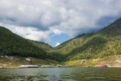 Floating house in the lake Bhumibol Dam Tak ,Thailand. Stock Image