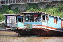 Floating house on Mekong river, Laos royalty free stock photo