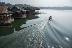 Floating house rafting Royalty Free Stock Images