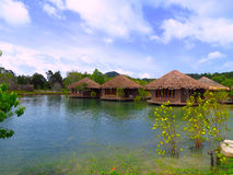 Floating house. Residence Floating house domicile in  Andaman Sea Stock Images