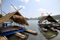 Floating house on river Stock Images