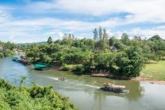 Floating house in river Kwai. Kanchanaburi of Thailand. Royalty Free Stock Photo