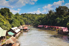 Floating house in River Kwai Stock Photography