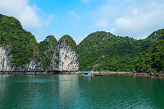 Floating house, rock islands, Halong Bay, Vietnam Royalty Free Stock Image