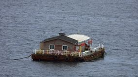 Floating House Sailing in the Sea. Shot with a Sony RX10 IV fps29,97 FHD stock video footage