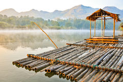 A floating house with a smog in the morning. Kanchanaburi, thailand Stock Images