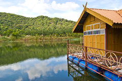 Floating house at thailand Stock Image