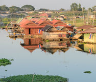 Floating house village in Thailand Stock Images