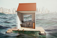 Floating house with workplace Royalty Free Stock Image