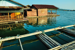 Floating houses with bamboo raft Stock Photo