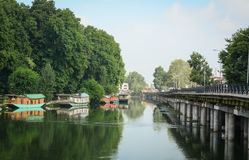 Floating houses with the bridge in Srinagar, India Royalty Free Stock Photo