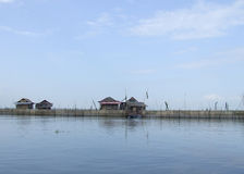 Floating houses on Danau (lake) Tempe in Sulawesi Royalty Free Stock Images