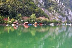 Floating houses on Drina river Stock Photo