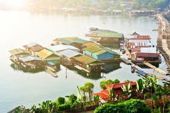 Floating houses. Group of floating houses in the river of Thailand royalty free stock photos