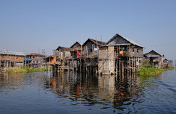 Floating houses in Inlay lake, Myanmar Royalty Free Stock Photography