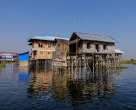 Floating houses in Inlay lake, Myanmar Stock Photography