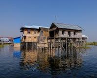 Floating houses in Inlay lake, Myanmar Stock Photography