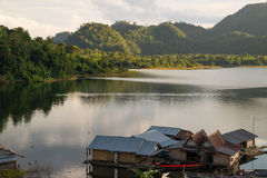 Floating houses at Khao Laem Stock Images