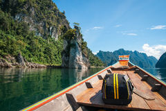 Floating houses and long tail boats at Chieou Laan lake Royalty Free Stock Photo
