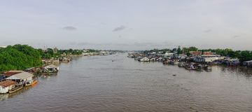 Floating houses in Chau Doc, Vietnam. Floating houses on Mekong river in Chau Doc, South of Vietnam Royalty Free Stock Photos