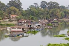 Floating houses in Uthaithani Thailand. Fish Farm and Restaurant Stock Photos
