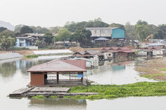 Floating houses in Uthaithani Thailand. Fish Farm and Restaurant Stock Photography