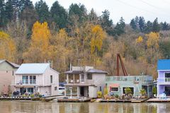 Floating houses on the Willamette river. royalty free stock images