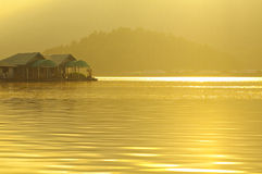 The floating Hut in dam lake Chiang Mai, Thailand Stock Photo