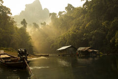Floating hut in thailand Royalty Free Stock Image