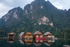 Floating huts in Khao sok national park Royalty Free Stock Photo