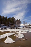 Floating of ice at the Belaya river Royalty Free Stock Images