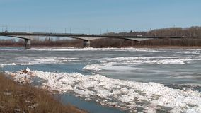 Ice floes float on the river in the spring during the ice drift. Floating ice floes on the river in the spring during the ice drift Sunny spring day congestion stock footage