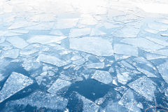 Floating ice floes on water - iced winter background Royalty Free Stock Images