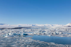 Floating ice in Jokulsarlon lagoon Royalty Free Stock Image
