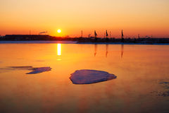 The floating ice on the lake sunrise Royalty Free Stock Photo