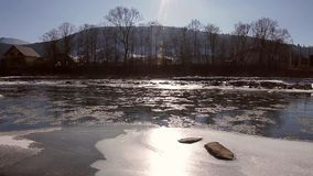 Floating of ice. stock footage