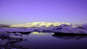 Jokulsarlon glacier lake in ultraviolet at sunrise
