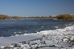 Floating of ice in Sibirea. Debacle in Siberia on the Tom River Royalty Free Stock Photo