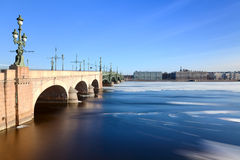 Floating of ice and  Trinity Bridge Royalty Free Stock Images