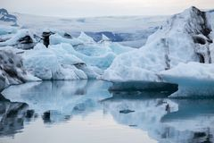 Floating iceberg fron the melding glacier. Jokulsarlon in Iceland royalty free stock photos