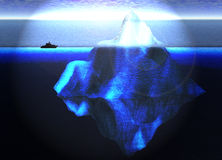 Floating Iceberg in Ocean with Small Boat Stock Images