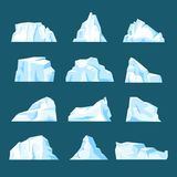 Floating cartoon iceberg set isolated from background. Floating iceberg set. Ice mountain, large piece of freshwater blue ice in open water. Vector flat style stock illustration