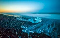 Floating icebergs in Jokulsarlon Glacier Lagoon, Iceland Stock Image